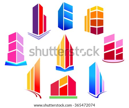 Set of bright logos of buildings. Vector illustration.