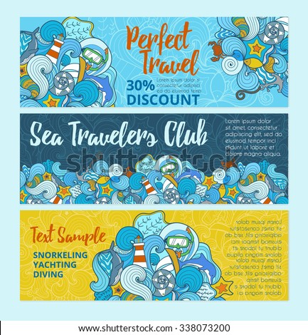 Set of bright marine templates.Colorful aquatic doodle background for banners, headers, flyers, brochures and advertising. - stock vector