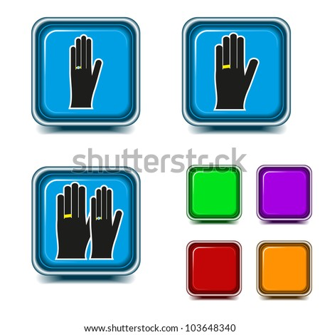 set of bright marriage icons - stock vector
