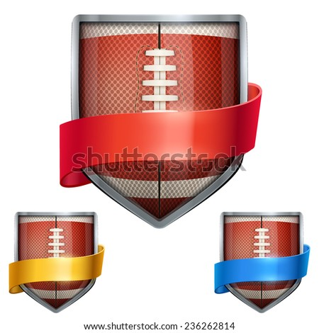 Set of Bright metal shield in the football ball inside with ribbons. Editable Vector Illustration isolated on white background. - stock vector