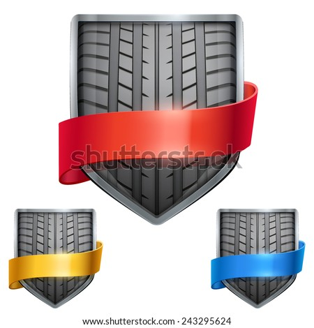 Set of Bright metal shield in the race tire inside and with ribbons. Editable Vector Illustration isolated on white background. - stock vector