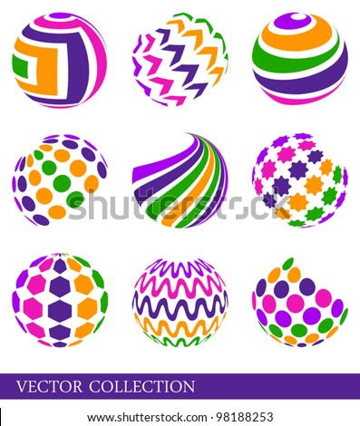 Set of bright multicolored abstract elements