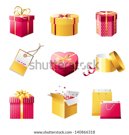 Set of bright present boxes - stock vector