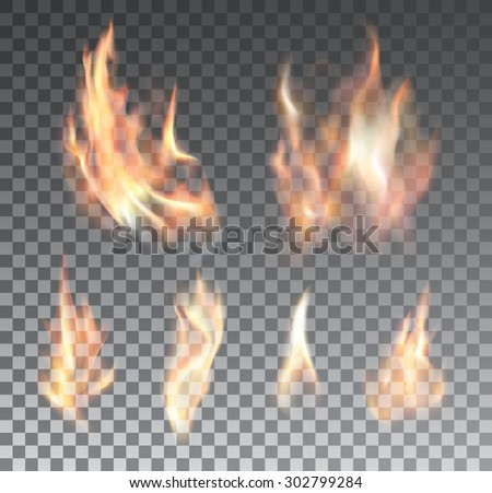 Set of bright realistic fire flames with transparency isolated on checkered vector background. Special light effects collection for design and decoration - stock vector