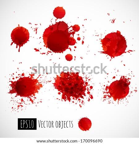 Set of bright red splashes. Vector illustration. - stock vector