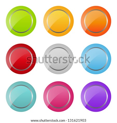 set of bright round buttons