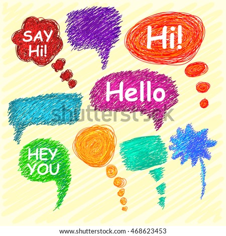 Set of bright speech bubbles hand-drawn on a light background. Vector illustration