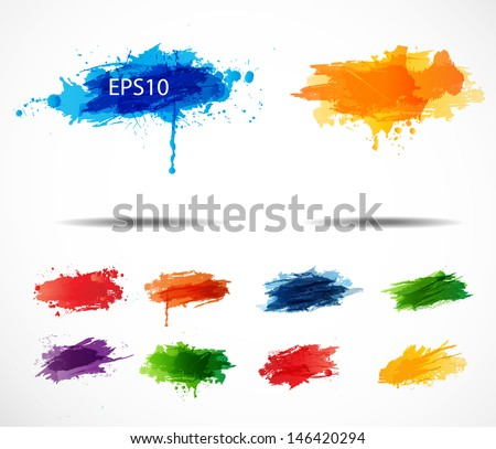 Set of Bright splashes isolated on a white background. Vector illustration.  - stock vector