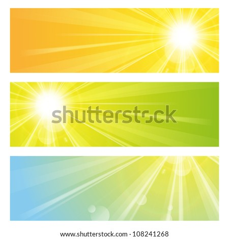 Set of bright sunny banners - stock vector