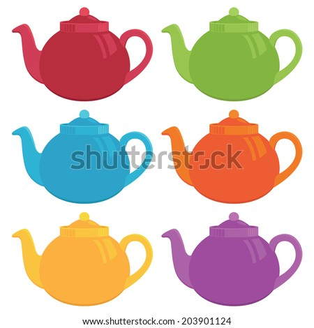 set of bright teapots isolated on white - stock vector