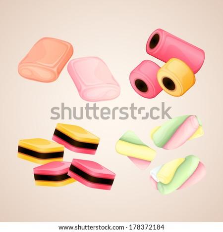 Set of bright vector candies - stock vector