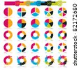 Set of brightly colored pie charts, vector - stock vector