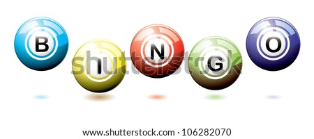 Set of brightly coloured bingo balls bouncing on a white background with shadows - stock vector