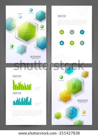 Set of brochure design templates. Design elements. Bright modern backgrounds. - stock vector
