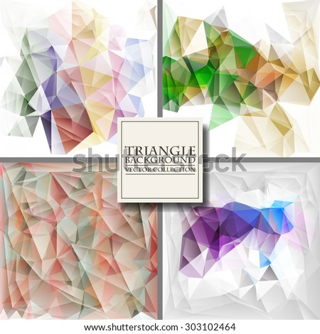 Set of Brochure Design Templates. Geometric Triangular Abstract Modern Backgrounds. Vector Illustration. - stock vector