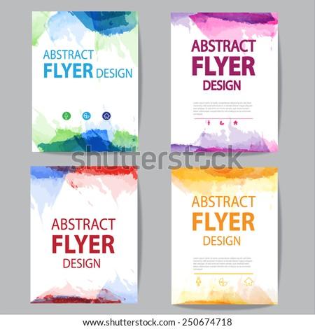 set of  brochure, flyer modern watercolor template - stock vector