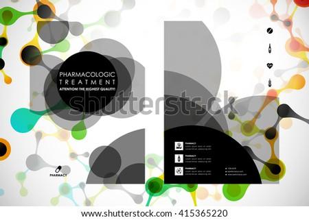 Set of brochure, poster design templates in DNA molecule style - stock vector