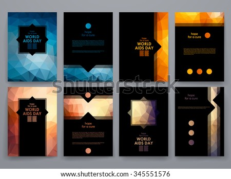 set of brochure poster templates in world aids day style beautiful design and layout