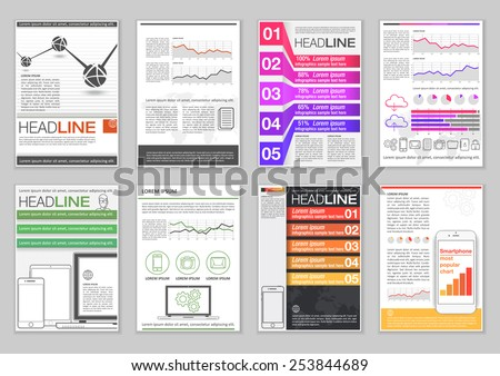 Set Brochure Template Infographic Elements Charts Stock Photo Photo