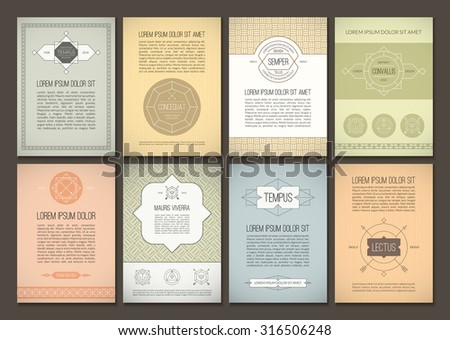 Set of brochures in vintage style. Vector design templates. Geometric retro frames and backgrounds. Can be used for flyer, booklet, menu, leaflet, placard, poster - stock vector
