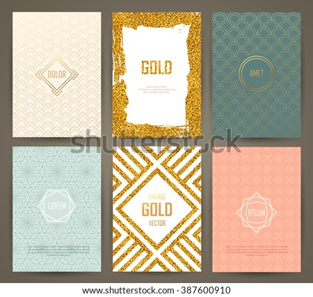 Set of brochures in vintage style with hand drawn design elements. Vector templates. Trendy patterns and textures. - stock vector