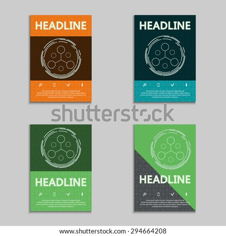 Set of brochures with abstract molecule icon. Biotechnology. Nano technology vector template. - stock vector