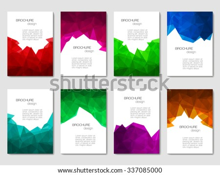 Set of brochures with geometric patterns in polygonal style. Vector illustration.  - stock vector
