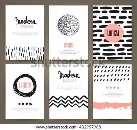 Set of brochures with hand drawn abstract design elements, patterns and textures. Vector templates.  - stock vector