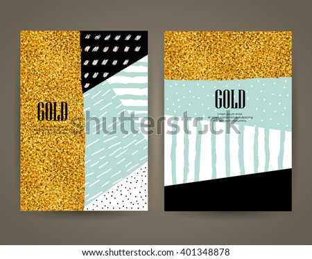 Set of brochures with hand drawn design elements. Vector templates. Trendy backgrounds, patterns and textures. - stock vector
