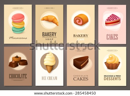 Set of brochures with sweets. Vector templates. Backgrounds with ice cream, cakes, cupcakes and candies. - stock vector