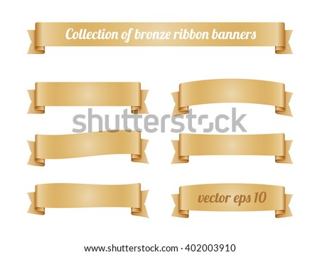 Set of bronze ribbon banners for promotion. Collection of beige retro scroll elements for design. Vector illustration. - stock vector