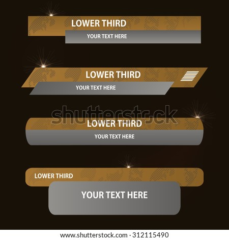 Set of brown and gray banners against a dark background of  lower third. Vector illustration. - stock vector
