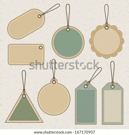 set of brown and green recycled paper price tags and labels. vector.