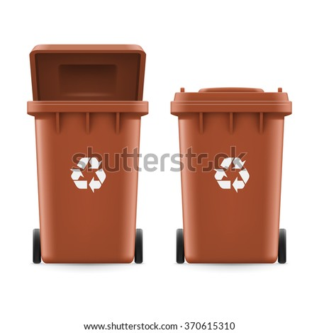 Set of brown buckets for trash with sign arrow - stock vector