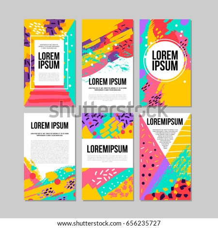 Set of brush strokes colorful  trendy card. Hand drawn creative flayers, abstract design poster, cover, design. Vector illustration. Lorem ipsum