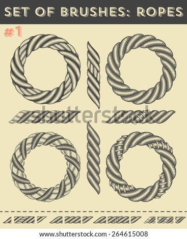 Set of brushes #1: Ropes - stock vector