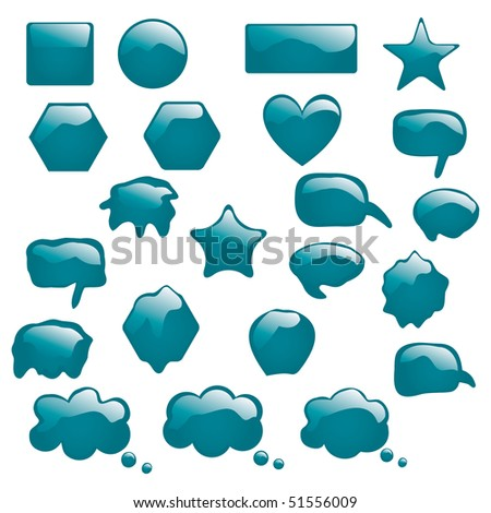 Set of bubbles icons symbols talk glossy speech thought