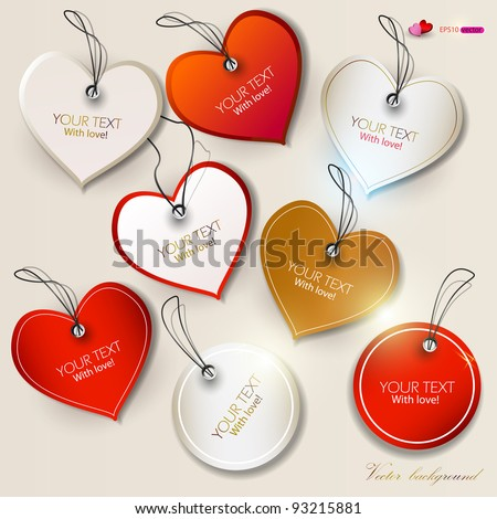 Set of  bubbles, stickers, labels, tags. Shape of hearts. Valentine's Day - stock vector