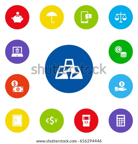 set 13 budget icons set collection strongbox stock vector royalty