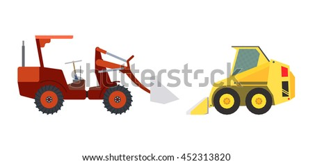Set of building and agricultural machinery / Set of machinery: compact yellow wheel loader and light red agricultural tractor