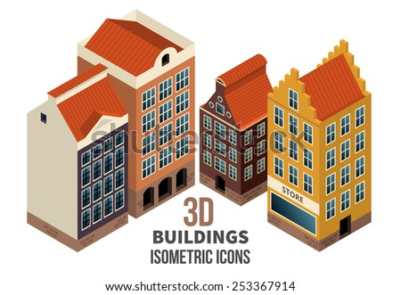 Set of building icons 3d. Residential buildings with retail store on the first floor. Vector illustration - stock vector