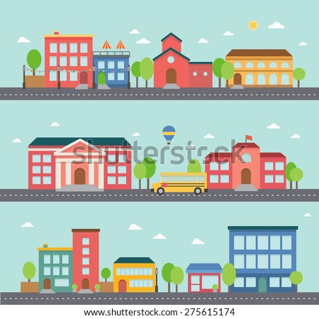 Set of building icons in a town - stock vector