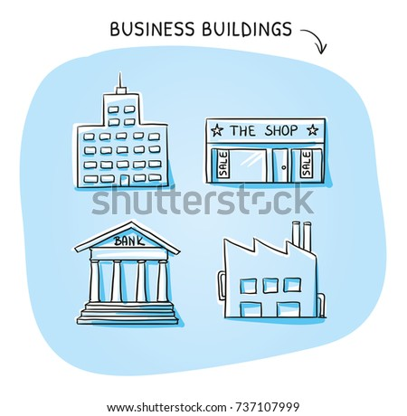 Set Building Icons Office Shop Factory Stock Vector 737107999