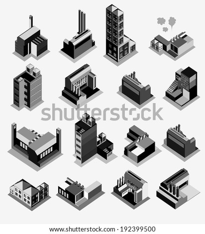 set of building isometric on black white color. use for game elements or map object - stock vector