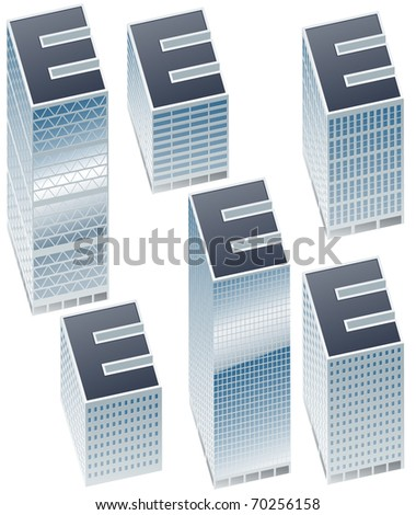 Set of buildings in form of alphabet. Letter e - stock vector