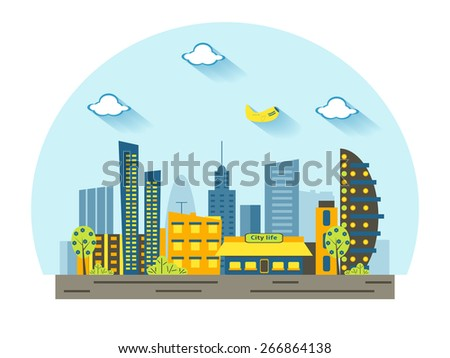 Set of buildings in the style of small business flat design with clouds and plane - stock vector