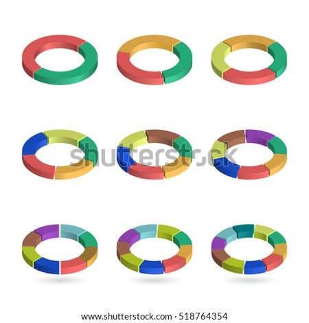 Set of bulk isometric pie charts in ring form. Templates realistic three-dimensional pie charts. Business data, colorful elements for infographics. Vector