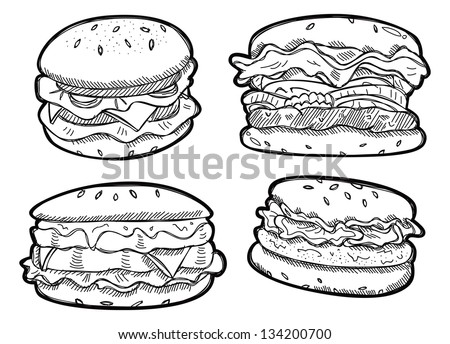 Set of burger doodle - stock vector