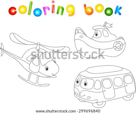 Set of bus, ship and helicopter. Coloring book for children. Vector illustration - stock vector