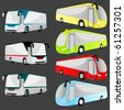 set of 7 bus vector illustration - stock